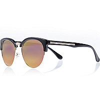 Black mirror lens retro sunglasses