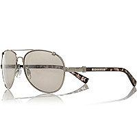 Silver tone tortoise shell aviator sunglasses