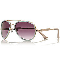 Light blue contrast rim aviator sunglasses