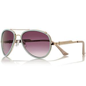 Light blue contrast rim aviator sunglasses