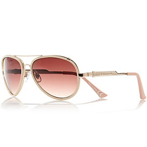 Cream contrast rim aviator-style sunglasses