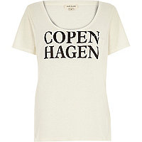 Cream Copenhagen print pocket t-shirt
