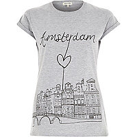Grey Amsterdam city sketch fitted t-shirt