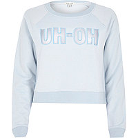Light blue uh-oh slogan sweatshirt