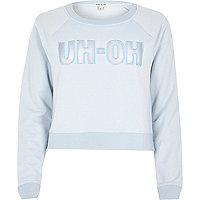 Light blue uh-oh slogan sweatshirt