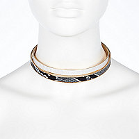 Gold tone animal print choker pack