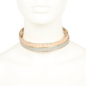 Gold tone pastel choker necklace pack