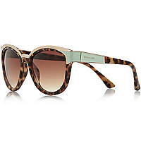 Brown tortoise shell mint cat eye sunglasses
