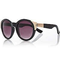 Black gold tip round sunglasses