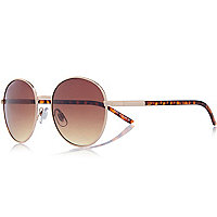 Gold 70s tortoise shell round sunglasses