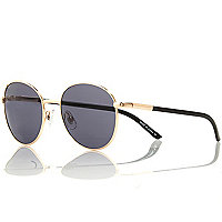 Gold tone round sunglasses