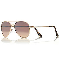Gold tone tortoise shell aviator sunglasses