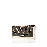 Khaki snake print clip top purse