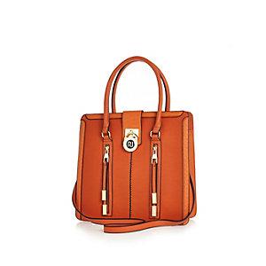 Orange zip and padlock tote handbag