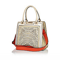 Cream lasercut tote bag