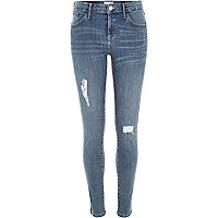 Mid wash distressed Amelie superskinny jeans