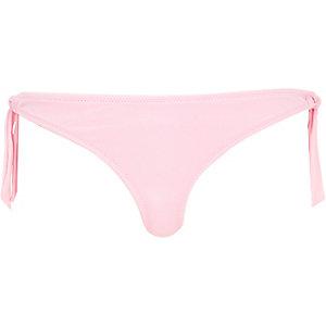 Pink tie side bikini bottoms
