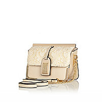 Cream lace luggage tag cross body bag