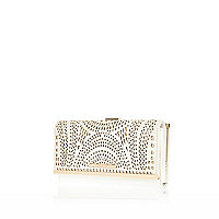 Cream laser cut clip top purse