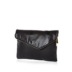 Black oversized asymmetric gold zip clutch