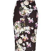 Black jersey floral print pencil skirt