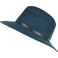 Green leather-look trim fedora hat