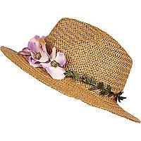 Beige floral trim straw fedora hat