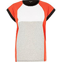 Red block colour oversized jersey t-shirt