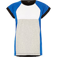 Blue block colour oversized jersey t-shirt