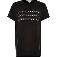 Black be inspired print oversized t-shirt