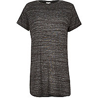 Grey marl short sleeve side split t-shirt