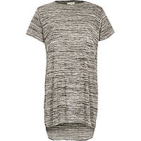 Grey space dye side split t-shirt