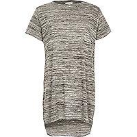 Grey space dye side split t-shirt