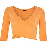 Orange 3/4 sleeve wrap crop top
