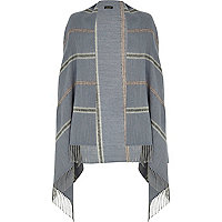 Blue stripe tassel blanket cape