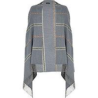 Blue stripe tassel blanket cape