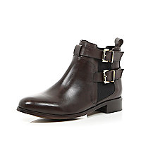Brown leather buckle trim ankle boots