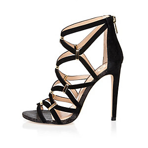 Black suede caged gold trim sandals