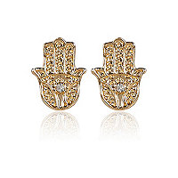 Gold tone diamante hamsa stud earrings