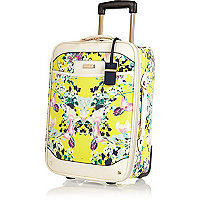Yellow floral print suitcase