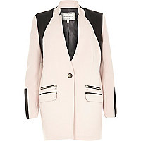 Pink structured leather-look panel jacket