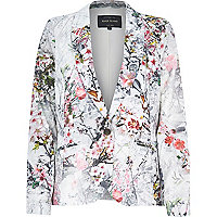 Grey floral print jacquard tailored blazer