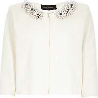 Cream boxy embellished tweed jacket