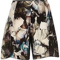 Grey floral print shorts