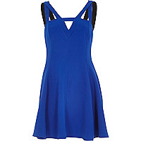 Blue double strap flared dress