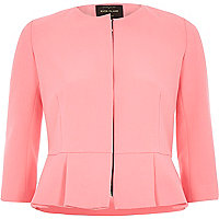 Pink structured peplum hem jacket