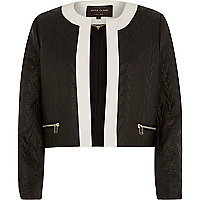 Black high shine quilted cropped jacket