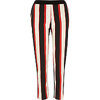 Red stripe cigarette pants