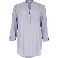 Grey loose fit V-neck shirt