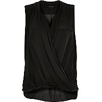Dark grey wrap front sleeveless blouse